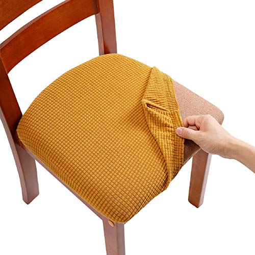 AlGaiety Dining Chair Covers, Chair Slipcovers for Dining Room, Stretch Jacquard Dining Chairs Covers Set of 4, Removable Washable Anti-Dust Chair Seat Covers, Seat Covers for Chairs, Gold