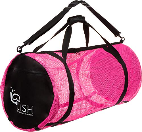 LISH Mesh Dive Bag - XL Multi-Purpose Equipment Diving Duffle Gear Tote, Ideal for Scuba, Snorkeling, Surfing and More (Pink)