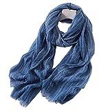 Bufanda De Color Liso Unisex Para Hombre Y Mujer De Primavera Verano Y Otoño (Azul)