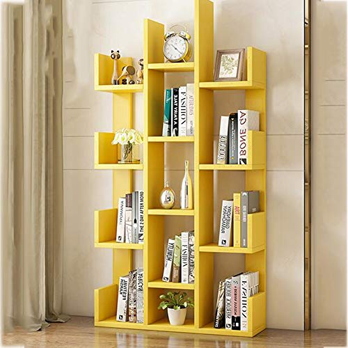 FEI Mensole Simple Bookshelf Floor Living Room Racks Camera da Letto per Bambini Libreria Office Assembly Storage Semplice (Colore : Giallo)