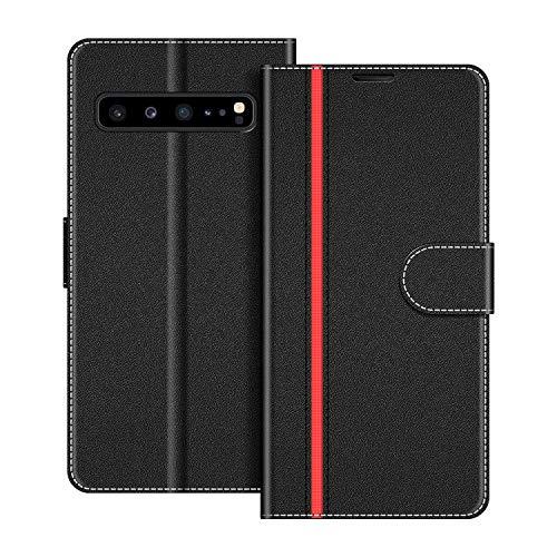 COODIO Handyhülle für Samsung Galaxy S10 5G Handy Hülle, Samsung Galaxy S10 5G Hülle Leder Handytasche für Samsung Galaxy S10 5G Klapphülle Tasche, Schwarz/Rot