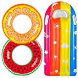 balnore Pool Floats for Kids, 3 Pack Pool Floats Toys for Kids Adult with Summer, Fun Inflatable Fruits Swim Tubes Rings and Rainbow Pool Float, Outdoor Beach Water Toys Party Supplies