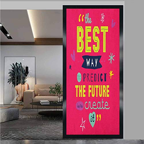 """W 23.6"""" x L 47.2"""" Office Privacy Window Film UV Window Sticker for Bathroom Bedroom Living Room,Motivational Typography The Best Way to Predict Future is to Create it Dark Coral Multicolor"""