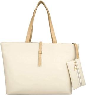 COAFIT Women's Tote Large Plain Casual Handbag Shoulder Bag with Mini Wallet (Ivory)