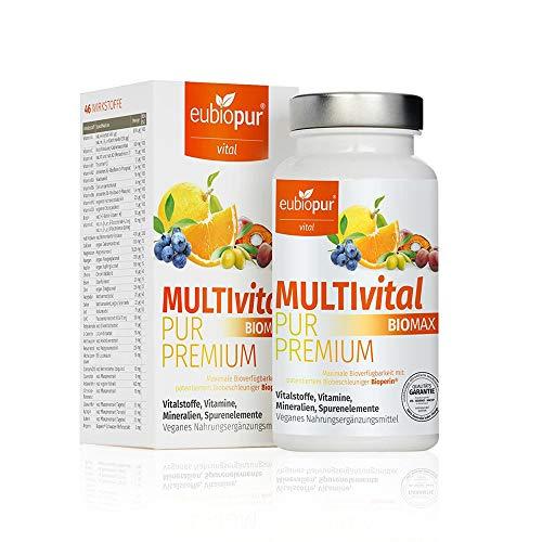 eubiopur Multivital Pur Premium | 60 vegane Multivitamin Kapseln | Multivitamin hochdosiert | 2-Monatsvorrat an sekundären Pflanzenstoffen Spurenelementen Vitalstoffen | hergestellt in Deutschland