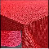 Tischdecke Gartendecke mit Saum abwaschbar Gartentischdecke Balkon Terrasse wetterfest (140 x 180 cm oval, Rot)