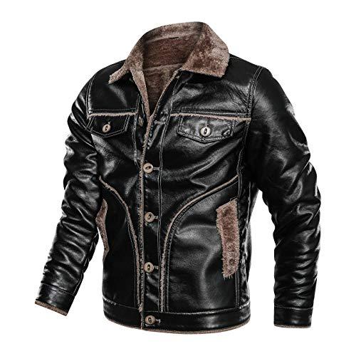 LYHY Lederjacke Herren,Herren Retro Jacke, Vintage Style Wildleder Pelzjacke, Samt Herbst Winter Jacke Mit Innenrevers, Plus Size Motorradjacke 4XL, Schwarz, S.