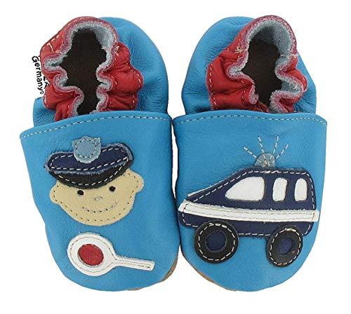 HOBEA-Germany Baby Krabbelschuhe Jungen, Modell Schuhe:Polizei, Schuhgröße:26/27 (30-36 Monate)