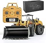 Tractor de construcción con cargador frontal de 10 canales, completamente funcional, con control remoto, juguete de excavadora de metal completo que puede cavar hasta 3.5 libras, escala 1:14, juguete