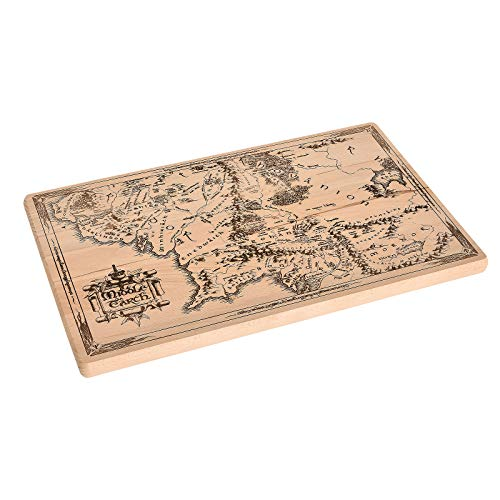 Elbenwald Herr der Ringe Holz-Schneidebrett Mittelerdekarte Buche 42 x 26 x 2 cm