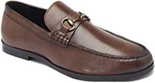 HATS OFF ACCESSORIES Genuine Leather Brown Loafers with Metallic Buckle