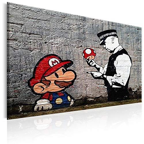 murando - Bilder Banksy Super Mario Mushroom Cop 120x80 cm Vlies Leinwandbild 1 TLG Kunstdruck modern Wandbilder XXL Wanddekoration Design Wand Bild - Street Art Graffiti Urban h-B-0080-b-a