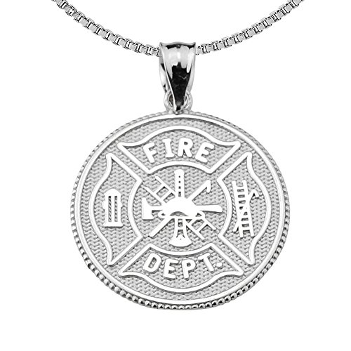"Firefighter Maltese Cross Sterling Silver with Prayer Blessing Pendant Necklace, 18"" Chain"