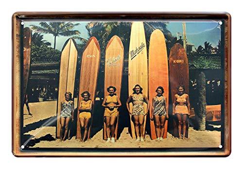 Blechschild Surf Wahines mit Surfboards - Metallschild mit 6 Surferinnen und ihren Longboards am Strand - Retro Deko Schild Surfing Surfen Wellenreiten Surfbrett Hawaii - Geschenk Beach Bar - 30x20cm