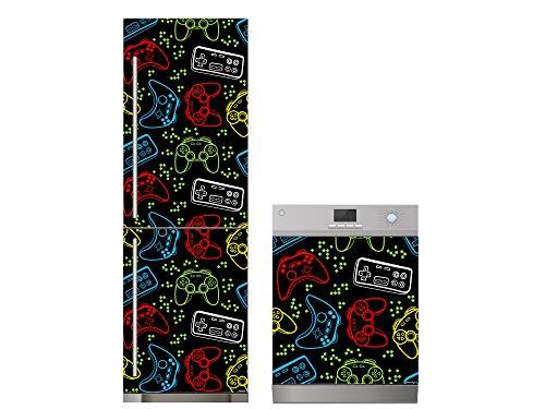 Oedim Pack Vinilo para Frigorífico + Vinilo para Lavavajillas Juegos Mandos Colores | 70x200cm + 65x75cm | Adhesivo Resistente y Económico | Pegatina Adhesiva Decorativa de Diseño Elegante