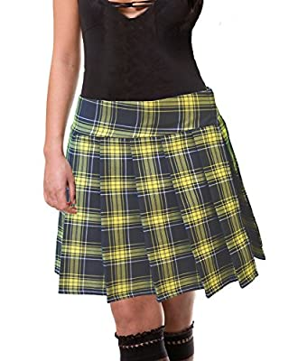 Plus Size Black-lemon Yellow Schoolgirl Tartan Plaid Pleated Skirt Long