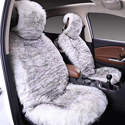 Maples 1Pack Faux Sheepskin Wool Fur Car Seat Cover for Cars SUV Trucks Universal Fit, Soft Plush Synthetic Wool Buck Fur Car Seat Cushions (White Gray)