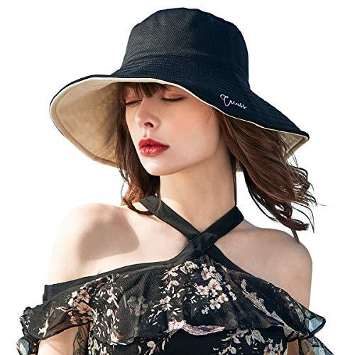 CACUSS Reversible Sombreros Playa Mujer Verano Sombrero ala Ancha Sol Gorras y Sombreros protección UV UPF 50+ Plegable Size M/L