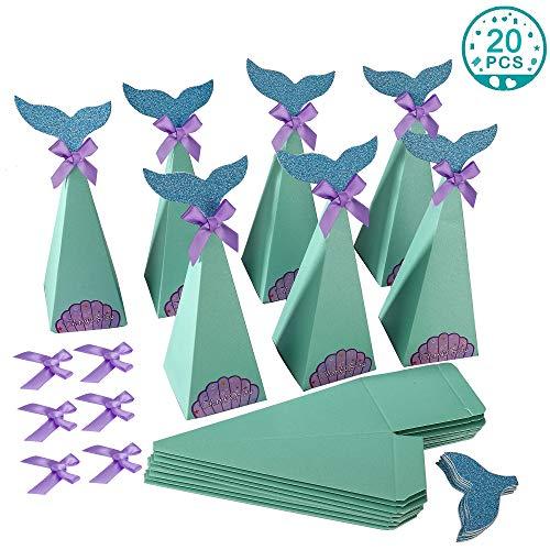 Meerjungfrau Geschenkboxen Dekorative Meerjungfrau Mitbringsel Candy Papierboxen für Kindergeburtstage, Mermaid-Themenpartys, Strandhochzeiten, Brautpartys oder Baby Dusche (20 Stück)