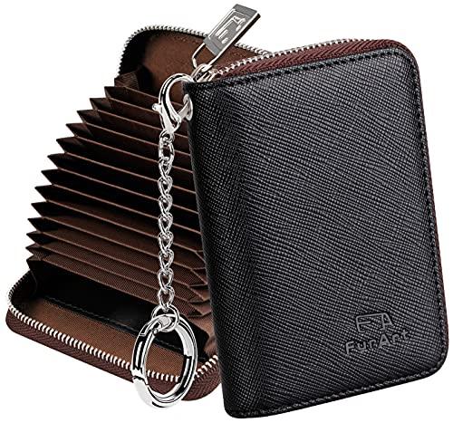 FurArt Porta Carte Credito, Cerniera Portafoglio Carta di Credito, Blocco RFID Porta Tessere per Donna e Uomo