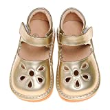LilyPipSqueak Boutique Toddler Girl's Squeaky Shoes Petal Gold-Free STOPPERS (10 Toddler)