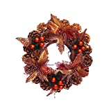 K&KP Artificial Wreath Decorative for Christmas/Thanksgiving Day, Traditional Christmas Advent Garland,Pine Cone Wreath Ornaments for Xmas Party Holiday Home Front Door Hanging Decor (Bronze, 40cm)
