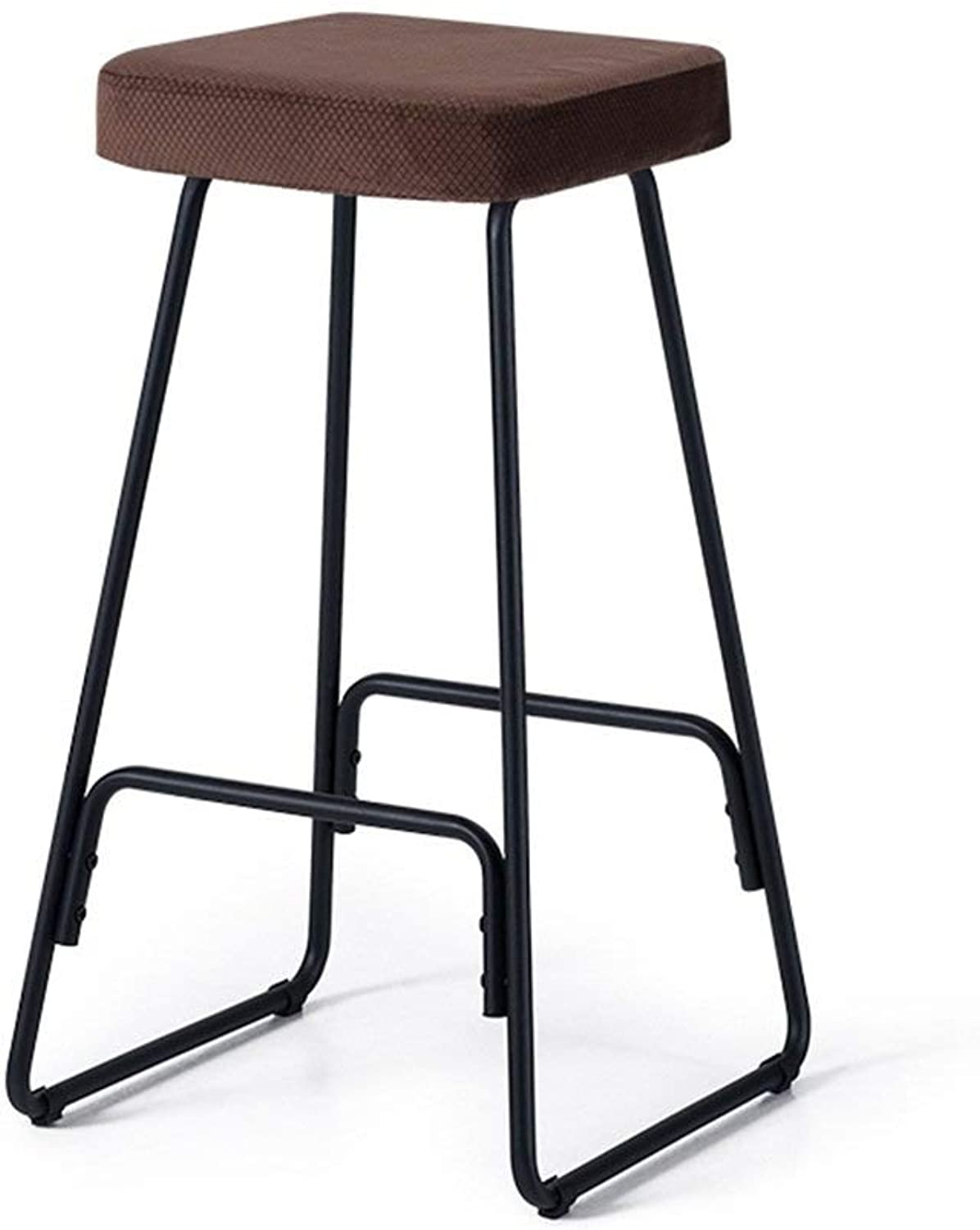 FH Bar Stool Set of 2, Creative Wrought Iron Bar Stool Modern Minimalist Bar Chair Solid Wood High Stool Retro Stool Bar Stool (color   Brown, Size   1 Pieces)