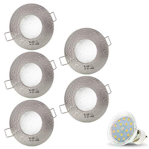 5er Set AQUA IP44 230V LED SMD 4W Warmweiß Decken Einbaustrahler Einbauspots Deckenspots, Badezimmer Feuchtraum Außenbereich (Matt-Chrom) inkl. GU10 Fassung mit 15cm Anschlusskabel [Einbautiefe:10cm]