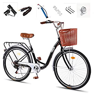 Comfort Bikes GHH Lightweight 26″ City leisure Bicycle,7 Speed Adult bike,Ladies Bike & Basket Flashlight, Inflator, Anti-theft lock, Silver Black