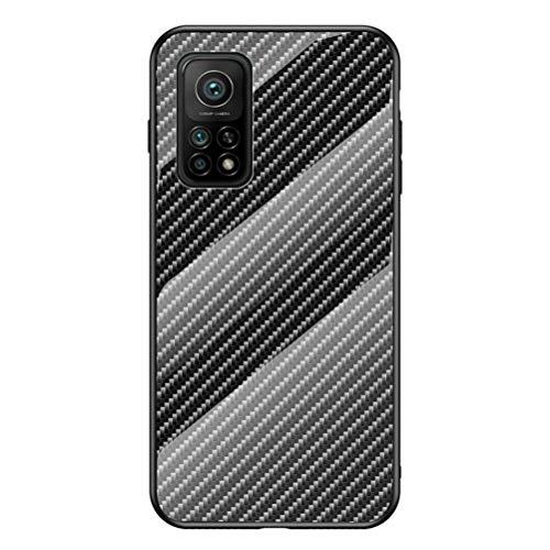 """MOONCASE Xiaomi Mi 10T 5G/10T Pro 5G Hülle, Luxus Gehärtetes Glas Hartschale Carbon Fiber Muster Stoßfeste Hard Case Cover Abdeckung Schutzhülle für Xiaomi Mi 10T 5G/10T Pro 5G 6.67"""" - Schwarz"""