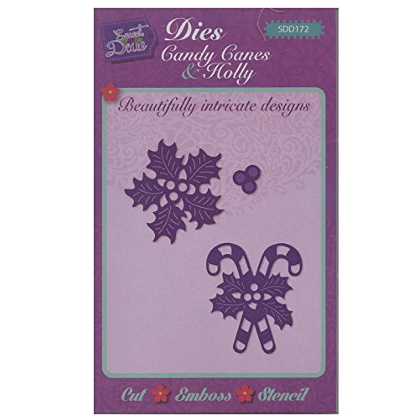 Sweet Dixie SDD172 Festive Craft Die - Candy Canes & Holly