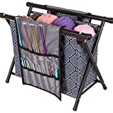 ArtBin 6932AG Needle Arts Caddy Knitting & Crochet Organizer, Collapsible Poly Canvas Caddy, Gray Print