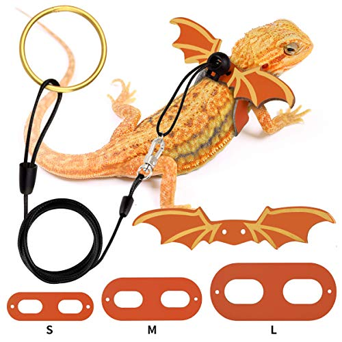 G.CORE Bearded Dragon Leash and Harness Adjustable Leather Wings Costume Carrier from Baby to Juvenile Lizard Iguana Gecko Chameleon Hamster Ferret Reptile Walking Leash S M L 3 Pack (Orange)