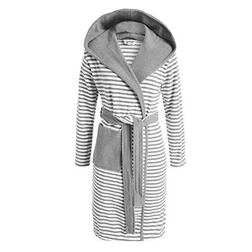 ESPRIT Bademantel Striped Grau mit Kapuze Streifen,Grau, Größe: S