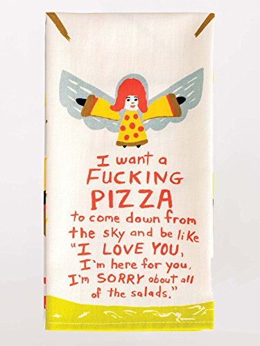 Blue Q Dish Towel, I Want a Fucking Pizza to Come Down From the Sky... 100% cotton, screen-printed in rich vibrant colors, 28