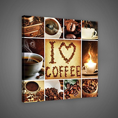 FORWALL Bilder Canvas Kaffee Collage I Love Coffee O5 (40cm. x 40cm.) Leinwandbilder Wandbild AMFPP10449O5