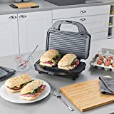 Salter EK2143 Deep Fill 3-in-1 Snack Maker with Interchangeable Waffle, Panini and Toasted Sandwich, 900 W, Silver, Non-Stick Plates, Power/Ready Indicator Lights, Locking Latch