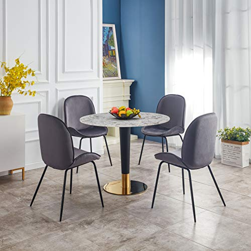 Round White or Black Marble Stone Octavian Dining Table - with all Black or combination of Gold & Black Metal Legs - 100 cm diameter, 4 seater (White Table with Black & Gold Legs)