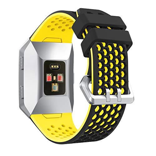 YaYuu Fitbit Ionic Armband, Ersatz Uhrenarmbänd Strap Weiches Silikon Sportarmband Erstatzband kompatibel für Fitbit Ionic Fitness Smart Watch (B, Schwarz gelb)