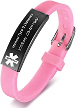 VNOX Medical Emergency Alert 4 Colors Stainless Steel ID Silicone Rubber Adjustable Bracelet for Children