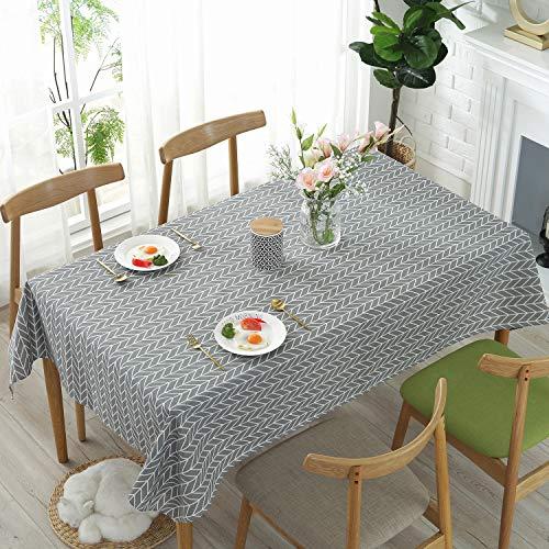 Tischdecke Rechteckige Baumwolle Leinen Tischdecken Pfeilmuster Staubdichte Waschbare Tischtuch für Küche Esstischplatte 140 x 220 cm (Grau)