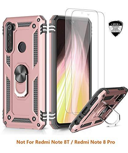 LeYi für Xiaomi Redmi Note 8 Hülle mit Panzerglas Schutzfolie(2 Stück),360 Grad Ring Halter Handy Hüllen Cover Magnetische Bumper Schutzhülle für Case Xiaomi Redmi Note 8 Handyhülle Rosegold