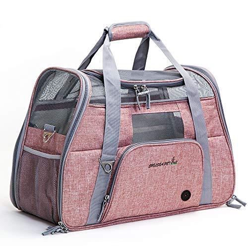 Ubest, trasportino da viaggio per gatti, cani e cuccioli, pieghevole, 51 x 22 x 34 cm, rosa chiaro