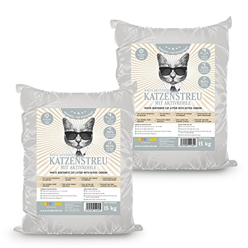 RinderOhr White Katzenstreu mit Aktivkohle 30kg