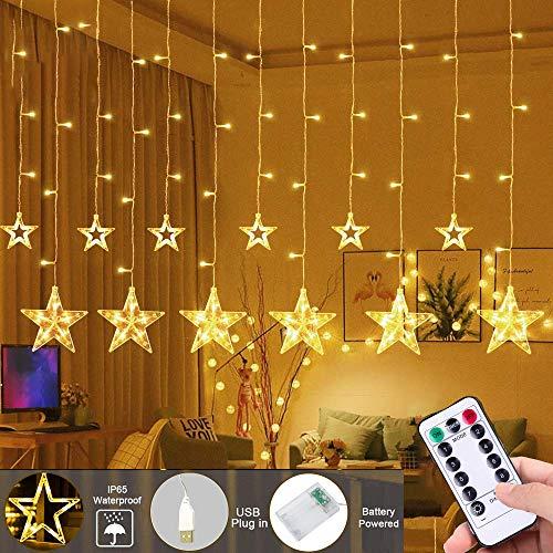LED Ster Lichtslingers Pejoye 3 AA op Batterijen, 2.5M Warm Witte Sterrenlichtslingers met 12 Sterren 138 LEDs 8 Modi, Fee Led String Ramen Gordijnverlichting Voor Kerst Bruiloft Tuin