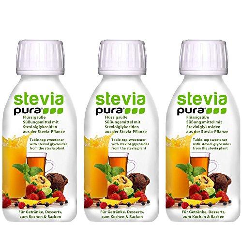 steviapura - Stevia flüssig Tafelsüße 3 x 150ml - OHNE FRUCTOSE - Natürlicher flüssiger Zuckerfreier Zuckerersatz ohne Kalorien, Veganer GMO-freier flüssig Stevia Süßstoff mit Steviolglycosiden aus Stevia Blättern der Steviapflanze