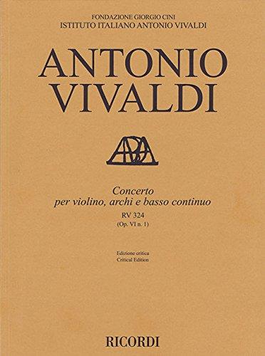 Concerto per violino, archi e bc, RV 324 Op. VI/1: Critical Edition Score
