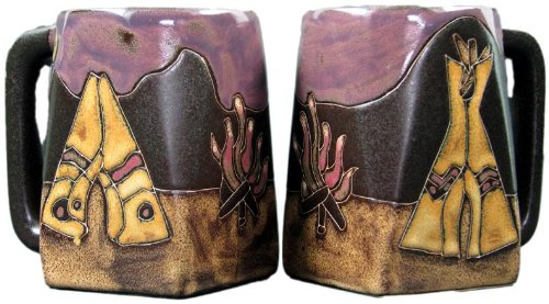 Set Of Two (2) MARA STONEWARE COLLECTION - 12 Oz Coffee Cup Collectible Square Dinner Mugs - Tee Pee/Camp Fire Native American Design