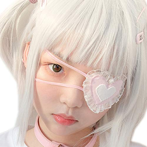 YOMORIO Anime Cosplay Eye Mask Lolita Girls Cute Japanese Costume Accessories Kawaii Lace Blindfold Pink (Pink)