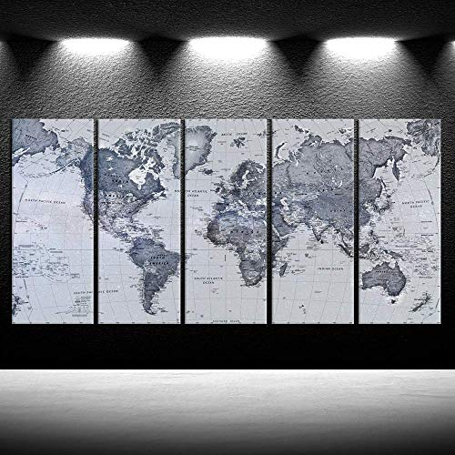iKNOW FOTO 5 Pieces Vintage World Map Canvas Prints Push Pin Map Wall Art Decor Trace Travel Marks Map Wall Decor Abstract The Map of The World Antique Framed Picture for Living Room Office 16x40inx5